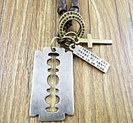 Vintage (colgante cuadrado) Collar de cuero café colgante (Silver) (1 PC)
