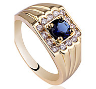 Mens Yellow Gold Finish 925 Sterling Silver Ring With 5Mm Round Stone Zircon