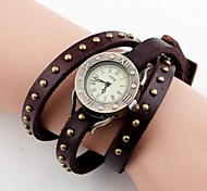 Women's Vintage Long Strap Leather Band Quartz Analog Wrist Watch (Assorted Colors)