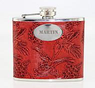 Motif personnalisé Phoenix cadeau rouge 5 onces cuir PU majuscules Flacon