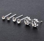 Süß (Unregelmäßige) Silber-Legierung Ohrstecker (3 Paare)