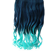 16 Inch Clip in Synthetic Green Gradient Wavy Hair Extensions with 5 Clips
