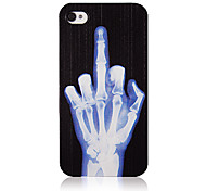 Original Black Hand Bone Pattern Transparent Frame Back Case for iPhone 4/4S