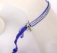 Two Rows Of Blue Velvet Buckle Bracelet