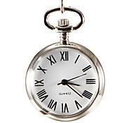 Women's White Surface Silver Alloy Quartz Analog Pocket Watch
