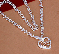 Fashion Heart Pendant Silver Plated Pendant Necklace (1 Pc)