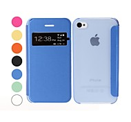 Solid Color Leather and Plastic Case  for iPhone 4/4S