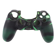 Silicone Skin Case and 2 Black Thumb Stick Grips for PS4 (Green + Black)