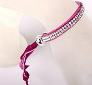 Two Rows Of Rose Velvet CCB Buckle Bracelet