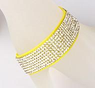 Eight Rows Of Velvet Diamond Yellow Bracelet