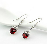 Korea Style Red Zircon Drop Earrings