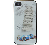 3D Blue Car and Leaning Tower Pattern Hard Case For iPhone 4/4S
