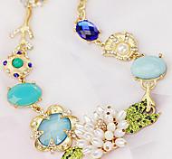 Sweet Multicolor Alloy&Rhinestone Choker Necklace(1 Pc)
