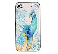 Pavo real azul caso de la piel pegar Patrón para iPhone 4/4S