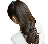 17 Inch Ribbon Tied Synthetic Natural Black Wavy Ponytail Hair Extensions