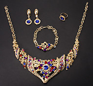Fashion Gold Alloy (Necklace&Bracelet&Earrings&Ring) Jewelry Set(Blue,White And More)
