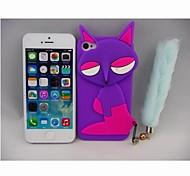 Silica Gel Purple Fox Pattern Case for phone 4/4s