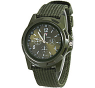 Men's Military Style Fabric Band Quartz Analog Wrist Watch (Assorted Colors)