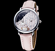 Women's Tea & Pot Decor Round Dial Leather Band Quartz Analog Wrist Watch