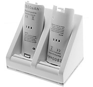 Remote Controller Charger and 2 New Battery Packs for Wii (White)