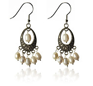 European Style Retro Droplight Shape Pearl  Oval Earrings