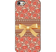 Gorgeous Gold Bowknot with Roses Pattern PC Hard Case with 3 Packed HD Screen Protectors for iPhone 5/5S