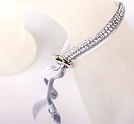 Two Rows Of Gray Velvet Buckle Bracelet