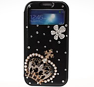 3D DIY Crown and Flower with Rhinestone Pattern Leather Case with Holder for Samsung Galaxy S4 i9500