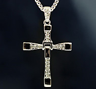 European (Cross Pendant) Silver Alloy&Rhinestone Pendant Necklace(1 Pc)