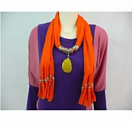 Polyester Cotton Orange Stone Pendant Scarf  Necklace