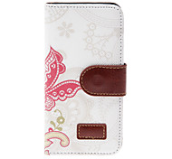 Chinese Style Butterflies in the Flowers Pattern PU Full Body Case with Stand and Card Slot for iPhone 5/5S