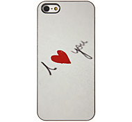 I Love You with Red Heart Pattern PC Hard Case with 3 Packed HD Screen Protectors for iPhone 5/5S