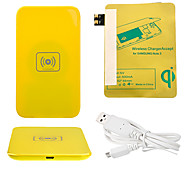 Yellow Wireless Power Charger Pad + USB Cable + Receiver Paster(Gold) for Samsung Galaxy S3 I9300