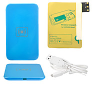 Azul Wireless Power Charger Pad + Cabo USB + Receptor Paster (Gold) para Samsung Galaxy Note3 N9000