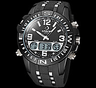 Men's Multi-Functional Military Style Steel Round Dial Rubber Band Analog-Digital Wrist Watch (Assorted Colors)