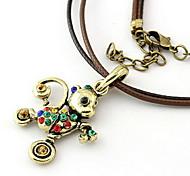 Fashion Antique Zircon Multicolor Pendant Leather Necklace(Random Color)