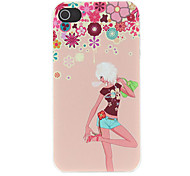 Fashion Girl and Flora Decorated Pattern Matte Designed PC Hard Case for iPhone 4/4S