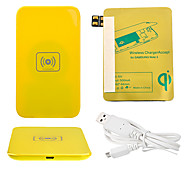 Yellow Wireless Power Charger Pad + USB Cable + Receiver Paster(Gold) for Samsung Galaxy Note2 N7100