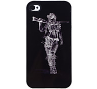 Lady with Gun Pattern Aluminous Hard Case for iPhone 4/4S