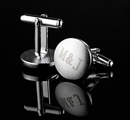 Personalized Gift Round Silver Engraved Cufflinks