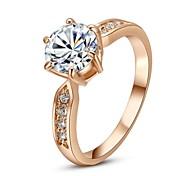 klassische Fingerring für die Dame klar simulierten Diamant-Ring