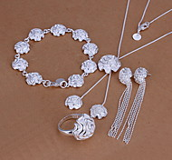 Fashion Silver Plated (Necklace & Earrings & Ring & Bracelet) Roses Jewelry Set
