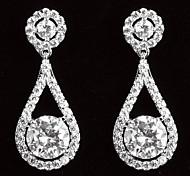 Elegant Platinum Plated With Zircon Drop Shaped Women's Drop Earrings