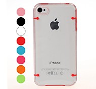 Two Colors Transparent Plastic Case and TPU Frame for iPhone 4/4S