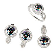 Fashion 925 Silver Plated Copper Rainbow Zircon Earring Ring And Pendants Set
