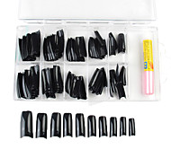 100PCS Mixed Size Black French Nail Tips with Glue