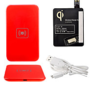 Red Wireless Power Charger Pad + USB Cable + Receiver Paster(Black) for Samsung Galaxy S4 I9500