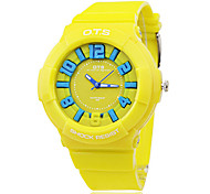Unisex Colorful Round Dial Rubber Band Quartz Analog Wrist Watch (Assorted Colors)