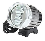 Recargable 3-Mode del Cree XM-L T6 + XP-G R5 LED luz de la bicicleta y de los faros (1000LM, 4x18650, Plata)
