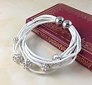New Fashion Mutistand Genuine Leather Magnetic Bracelet with Shamballa Disco Ball Beads Bracelet